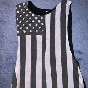 Black and White American Flag Muscle T